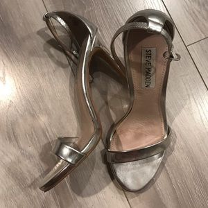Steven madden silver strapped heels